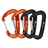Kyпить Favofit 12KN Heavy Duty Aluminium Wiregate Carabiner Clips, Pack of 4, Black and Orange на Amazon.com
