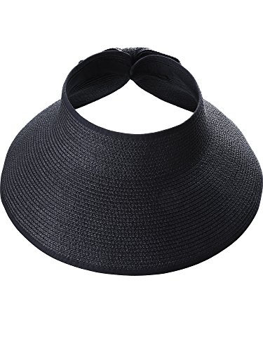 Hestya Women's Wide Brim Roll-up Straw Sun Visor Packable Foldable Sun Visor Beach Open Top Hat (Black) by Hestya