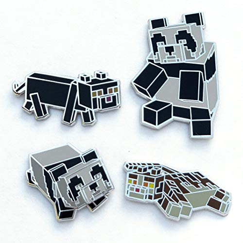 Minecraft Collectible 4 Pin Set (Cats and Pandas) Officially Licensed Toys