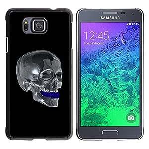 TopCaseStore / la caja del caucho duro de la cubierta de protección de la piel - Chrome Skull - Samsung GALAXY ALPHA G850