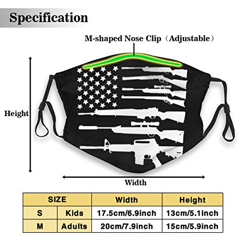 Protective Dust Mask, Activated Carbon Filter Mask, USA Flag Gun Quick Dustproof Safety Mask for Adults Kids
