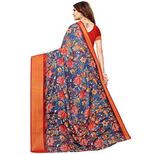516qIfyK kL. SS500  - Akhilam Women's Printed Linen Saree with Unstitched Blouse Piece (Blue_BGBLT80006)