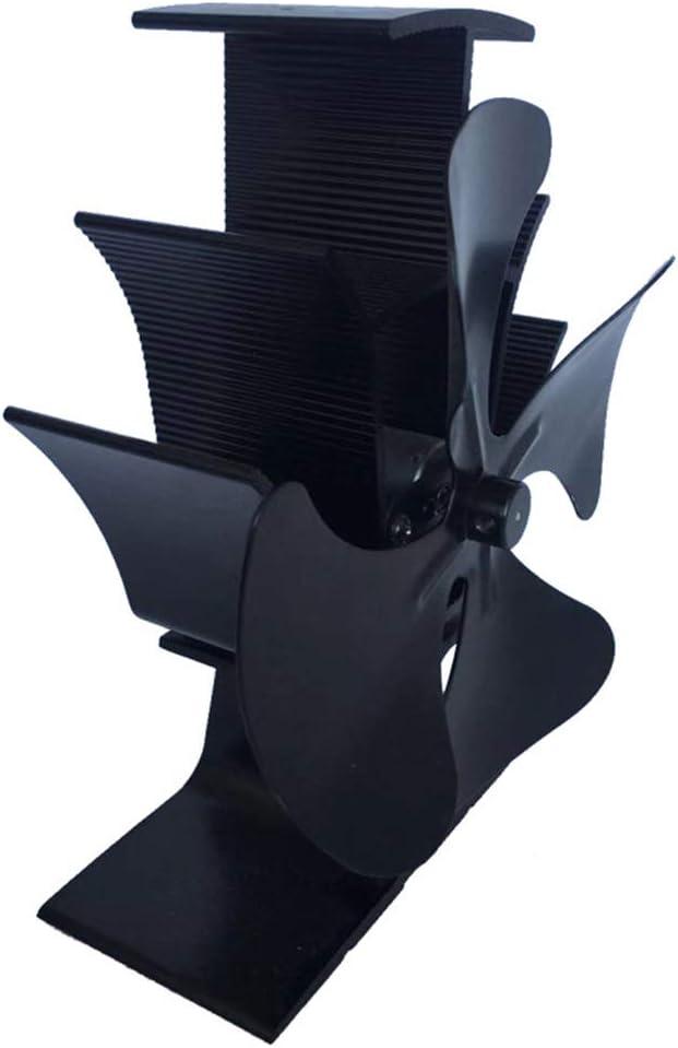 ONGLOLH Desarrollado Chimenea del Ventilador 4-Blade Calor del Ventilador de Calor de Alta eficiencia Desarrollado silencioso Estufa Ventilador Mini Estufas de Aficionados,Black-22 * 16 * 9CM