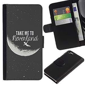 KingStore / Leather Etui en cuir / Apple Iphone 6 / Pour Neverland Lune Noire Blanc