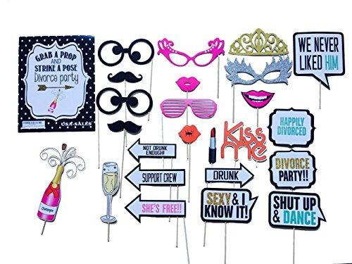 [USA-SALES] Divorce Party Photo Booth Props, Divorce Party Decorations, Attached to the Sticks, NO DIY REQUIRED, by USA-SALES Seller]()