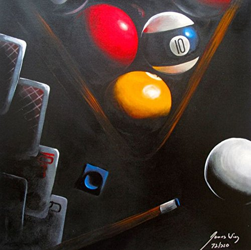 Wall Art by James Wing Black Poker Billiards Hand Signed Limited Edition Giclee Print. After the Original Painting or Drawing. On Canvas Measures 16 Inches X 16