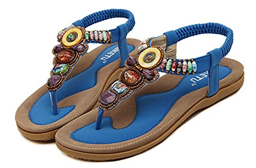 Easemax Womens Casual Open Toe T-Strap Elastic Ankle Strap Beaded Boho Sandals Thong Flats Blue AUlbn