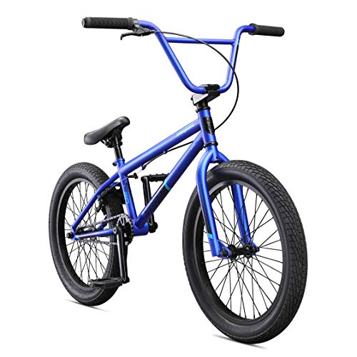 Mongoose Legion L20 Freestyle BMX Bike for Beginner Riders, Featuring Hi-Ten Steel Frame and Micro Drive 25x9T BMX Gearing with 20-Inch Wheels, Blue (Best Sports Bike For Female Beginners)