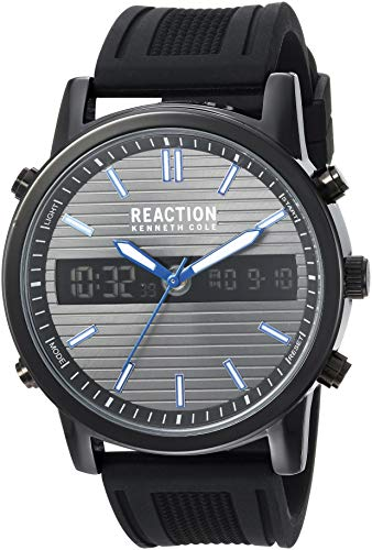 (Kenneth Cole REACTION Men's ANA-DIGIT Analog-Quartz Watch with Silicone Strap, Silver, 23.75 (Model: RK50549002))