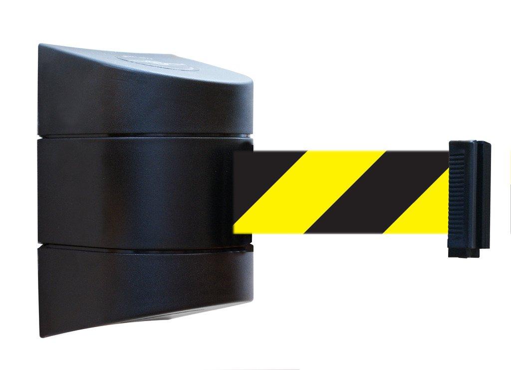 Tensabarrier 897-15-S-33-NO-D4X-C Standard Wall Mount, Black Caps, No Custom Black/Yellow Chevron Webbing Standard Belt End, 15'