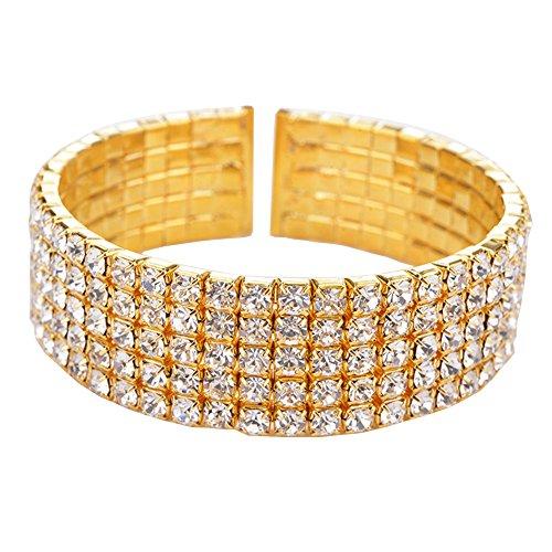 Kacon Women's Silver-tone Austian Crystal Open End Wide Elegant Party Cuff Bangle Bracelet Clear (Gold Eternity Bangle)