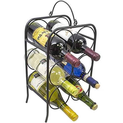 Sorbus 6 Bottle Freestanding Wine Holder Rack- Classic Arch Style Wine Stand (Wine Bottle Stand)