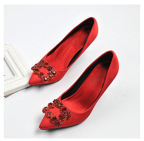 comodo acqua ad perforazione alta semplici tacco scarpe La della scarpe versatile alta colore colori acqua di di in decorate e 35 tacco foratura rosso punta 7cm EzwwCqY