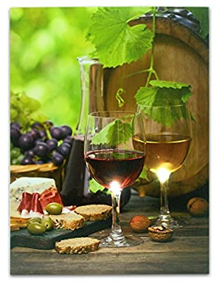 Wine Picture - Wine Decor Wall Art with LED Lights - Canvas Print - Wine Glasses and Wine Bottle Pictured with Grapes, Bread, Cheese, Nuts and Olives - 16x12 Inch