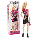 Mattel Year 2013 Barbie Fashionistas Style Series 12 Inch Doll Set - BARBIE (BLT09) in Pink/Black/White Dress with Flower Print Plus Bangle, High Heel Shoes and Purse