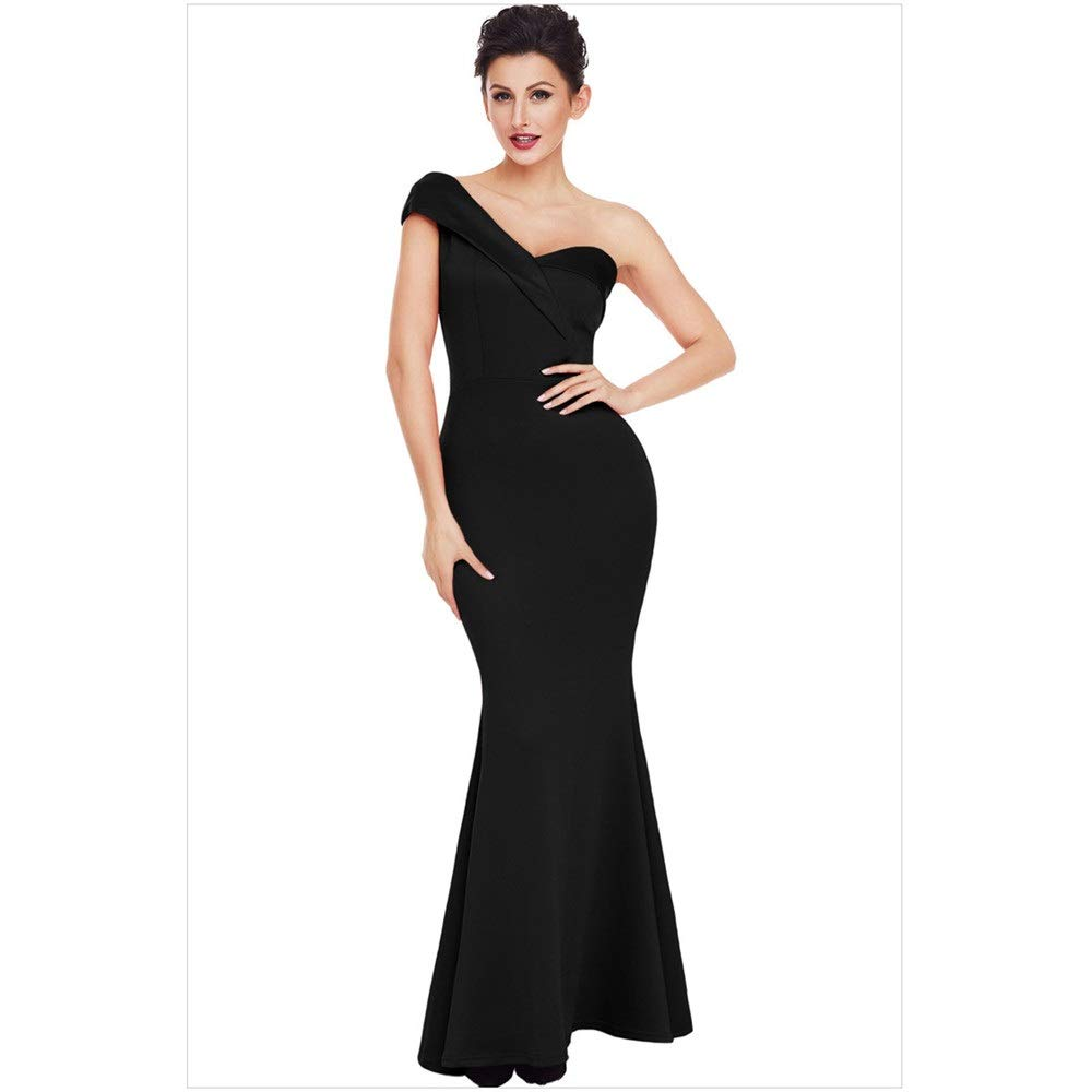 Black Women's Evening Cocktail Gowns Women Sweetheart One Shoulder Evening Dress Formal Party Maxi Dress Prom Dress Gowns Solid color Bodycon Mermaid Dress Cocktail Dress Wedding Bridesmaid Dress Elegant