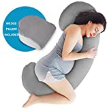 Full Body Jersey Maternity Pillow Baby Nursing Cushion and Maternity Pillow for Pregnant Women Belly and Back Support Cushion Made of Jersey Pillow Cover Wedge Pillow Included