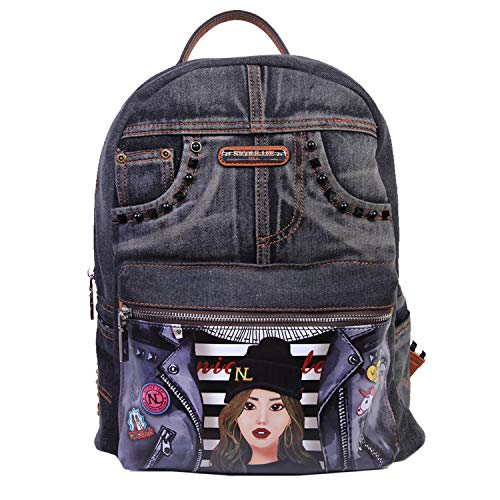 Studded Denim Graphic Backpack with Adjustable Straps and Laptop Compartment (Laptop Backpack Nicole Lee)
