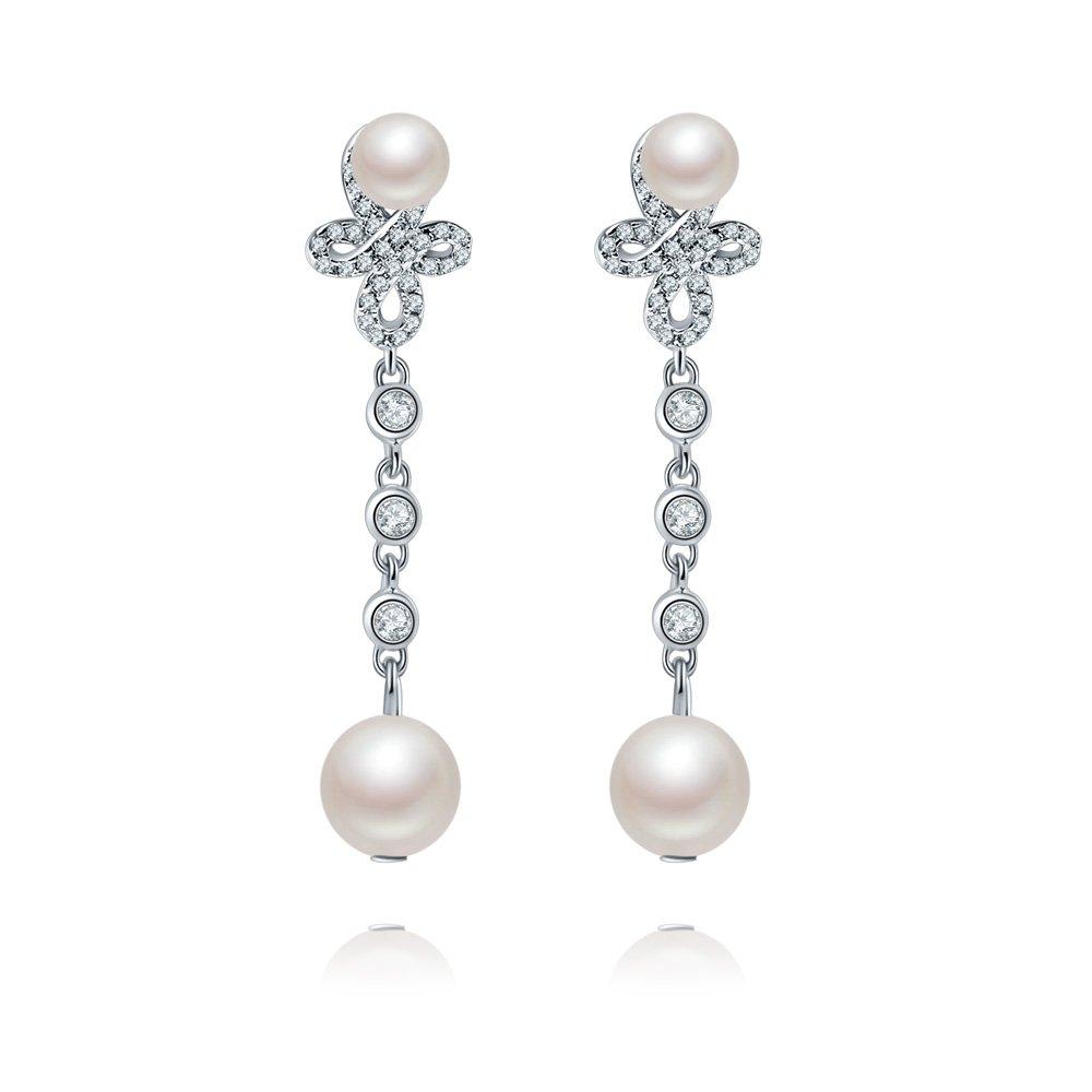 ''Forever Love''925 Sterling Silver Double Shell Pearl Teardrop Dangle Earrings Drop AAA Zircon Bridal Jewels