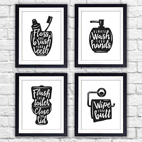 photo about Printable Bathroom Signs named Amusing Lavatory Indications (Established of 4) - Unframed - 8x10s Rest room Decor Wall Artwork