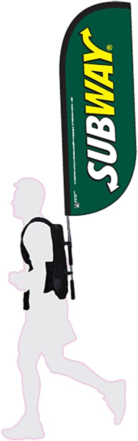 Amazon Com Subway Feather Flag Walking Kit Backpack And Flagpole Included Subway Logo With Green Background Full Kit Outdoor Flags Garden Outdoor