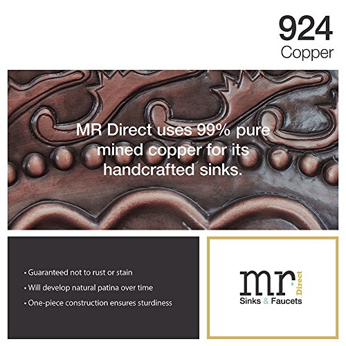 80%OFF MR Direct 924 Copper Single Oval Bowl Sink Antique Bronze Bathroom Ensemble with 726 Vessel Faucet (Bundle - 3 Items: Sink, Faucet, and Grid Drain)