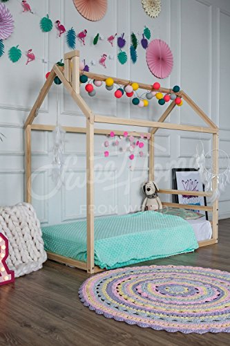 Montessori bed, children furniture, wood house, toddler bed, kids teepee, house bed baby bed nursery cot children bed 1HEADBOARD WITH slats (Pine Cot)