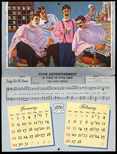 Songs We All Know salesman's sample calendar 1950 barbershop quartet +