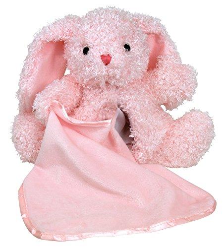 Stephan Baby Super Soft Plush Blankie Buddy Security Blanket, Pink Bunny