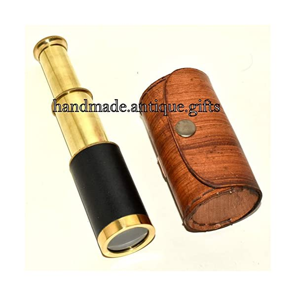 "Nautical Gift Decor 6"" Handheld Brass Telescope & Leather Box Pirate Navigation Spyglass Steam Punk 4"