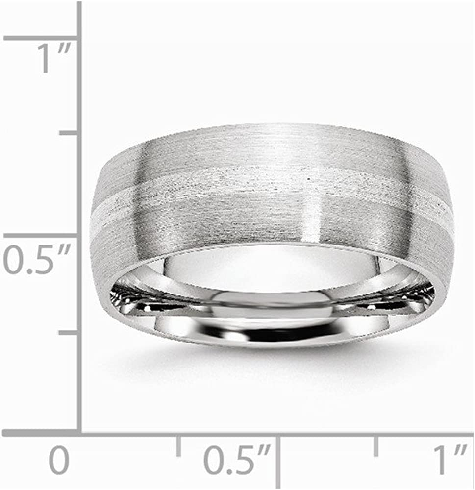 Cobalt and Sterling Silver Inlay Satin 8mm Wedding Band Fine Jewelry Ideal Gifts For Women