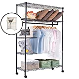 JS HOME Closet Garment Rack Heavy Duty Clothes Wardrobe Rolling Clothes Rack Closet Storage Organizer with Hanger Bar Black