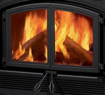 Amazon.com: Cast-Iron Ceramic Glass Double Fireplace Doors from ...