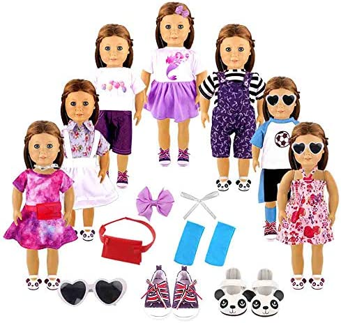 YIQIHAI 18pcs Girl Doll Clothes and Accessories for 18 Inches Doll , Including 7 Set Summer Daily Doll Clothes and 2 Pairs Shoes