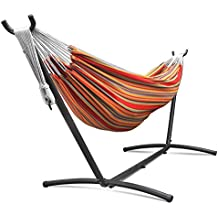 Flexzion Double Hammock With Steel Stand Combo Space Saving Elegant Tropical Stripe with Portable Carrying Case for Outdoor Camping Garden Park Accommodate 2 Adults Weight Capacity 450lbs