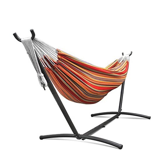 Flexzion Double Hammock With Steel Stand Combo Space Saving Elegant Tropical Stripe with Portable Carrying Case for Outdoor Camping Garden Park Accommodate 2 Adults Weight Capacity 450lbs - Double hammock with space-saving stand Hammock made of 100% cotton Space-saving 9-Foot stand is constructed of heavy duty steel and assembles in minutes without any tools - patio-furniture, patio, hammocks - 516qNIlZVIL. SS570  -