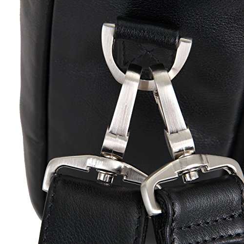 Genda 2Archer Multi-Taschen Aktentasche Business Schultertasche Leder Schwarz