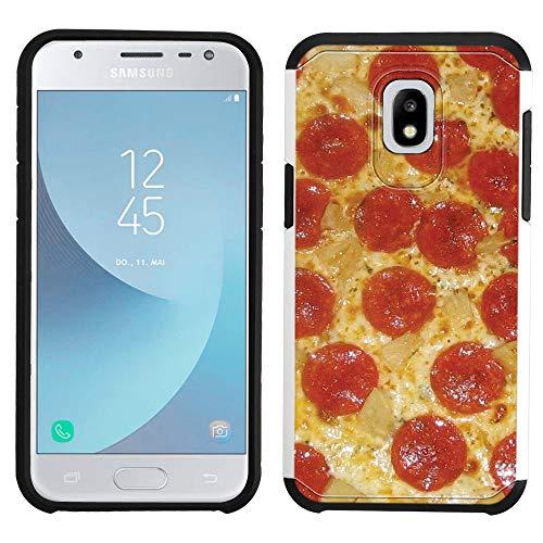 Galaxy J3 2018 Case [Pepperoni Pizza](Silver) PaletteShield Hybrid Armor Skin Phone Cover (fit Samsung Galaxy J3V 2018/ Star/Achieve/ Express Prime 3)