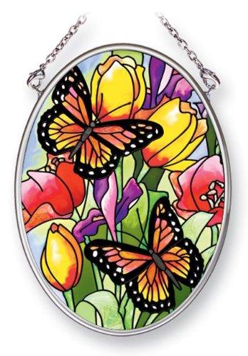 (Amia 41453 Friendly Butterflies 3-1/4 by 4-1/4-Inch Oval Sun Catcher,)