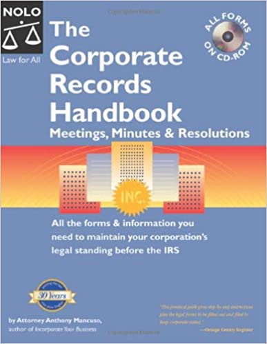 the corporate records handbook meetings minutes resolutions all