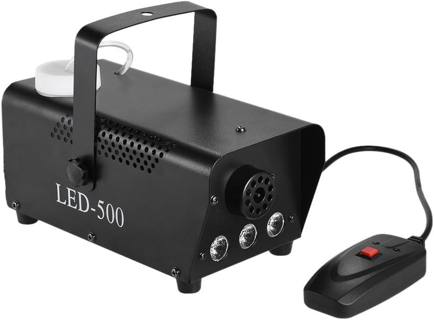 ammoon Colorido 400 Vatios Niebla Maquina de Humo con las Luces del Color del LED (Rojo, Azul, Verde) Mando a Distancia con Cable para Party Live Barra de DJ del Concierto Efecto de Escenario de KTV