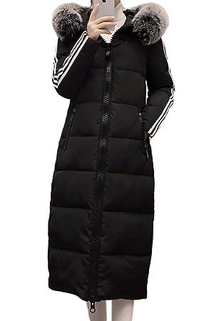 xiaoming Women's Winter Faux Fur Hood Long Quilted Coat Jacket