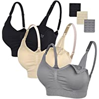 STELLE Body Silk Seamless Maternity Nursing Bra with Pads, Extenders & Clips