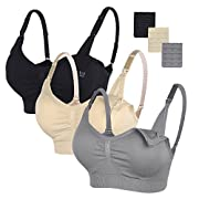 STELLE 3PACK Body Silk Seamless Maternity Nursing Bra with Pads, Extenders & Clips(Gray+Black+Nude,S)