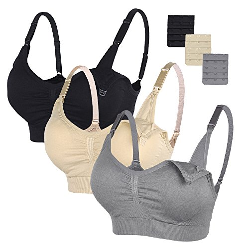 STELLE 3PACK Body Silk Seamless Maternity Nursing Bra with Pads, Extenders & Clips(Gray+Black+Nude,XXL)