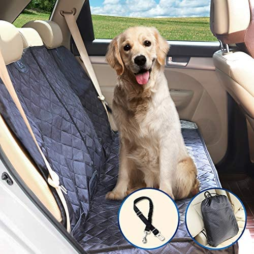 Petural Back Seat Cover Waterproof Dog Car Seat Covers Back Seat Protector for Pets with Armrest and Seat Belt Tear Resistant and Easy to Install Ideal for Dog and Kids, Travelling