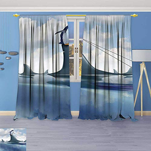 Price comparison product image Philiphome Linen Curtains Management Leadership Concept with A Penguin Holding Shark Humor Design Blue Grey Dust Print Window Curtain Drapes Set for Living Room