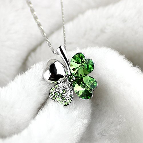2ee6fb8b8 Merdia Crystal Four Leaf Clover Pendant Necklace with Chain - Import It All