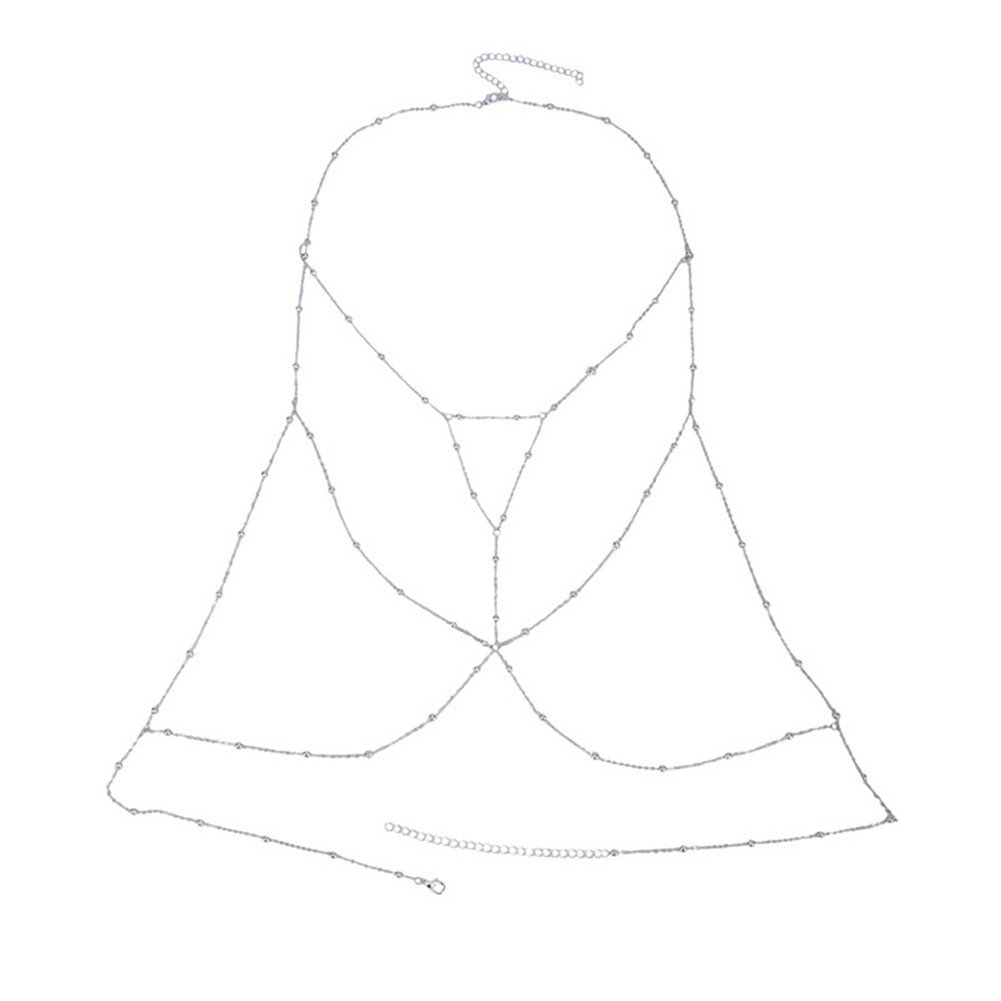 SIYWINA Body Chain Crossover Harness Adjustable Bikini Belly Chain Chest Chain Bikini Necklace(Silver)