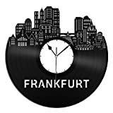 VinylShopUS - Frankfurt Vinyl Wall Clock City Skyline Gift Home Room | Unique Gift for Man Woman| Home Decoration